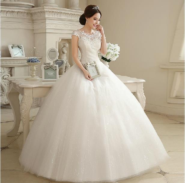 Fashion Sweet Lace Wedding dress 2014 Boat Neck Floor Length ...