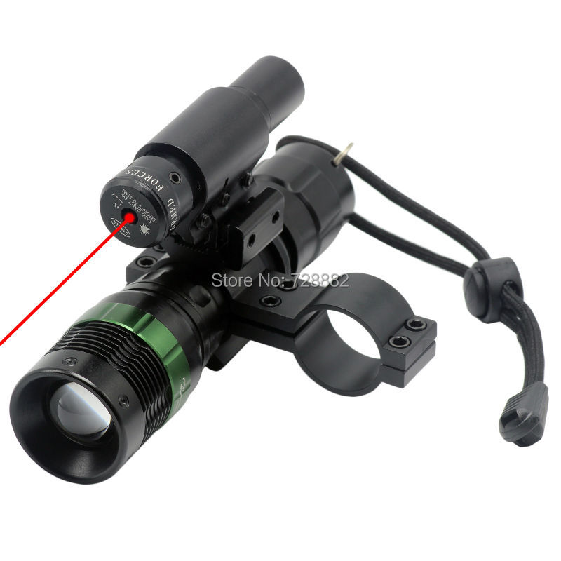 Tactical Zoomable CREE LED Flashlight Torch and Red Dot Laser Sight with Scope Mount Hunting Accessories цены
