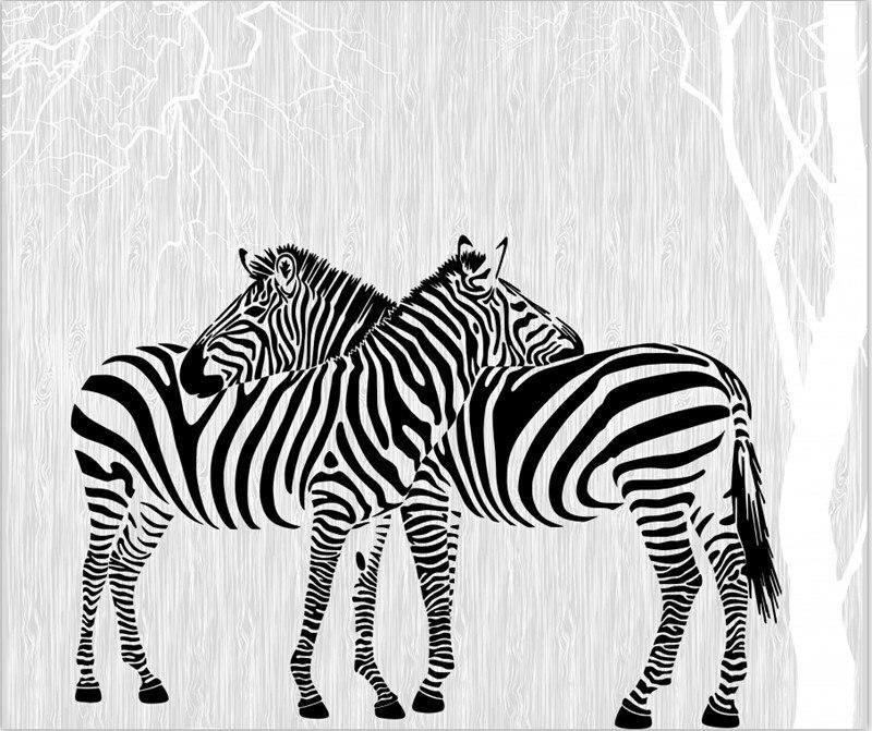Пользовательские 3D панно, современный минималистский росписи, две зебры в абстрактной Вудс Papel де Parede, гостиная ТВ стены спальне обои