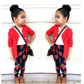 3pcs Baby Girls Red Coat + White T-Shirt + Floral Pants Set Kids vetement Outfits free shipping