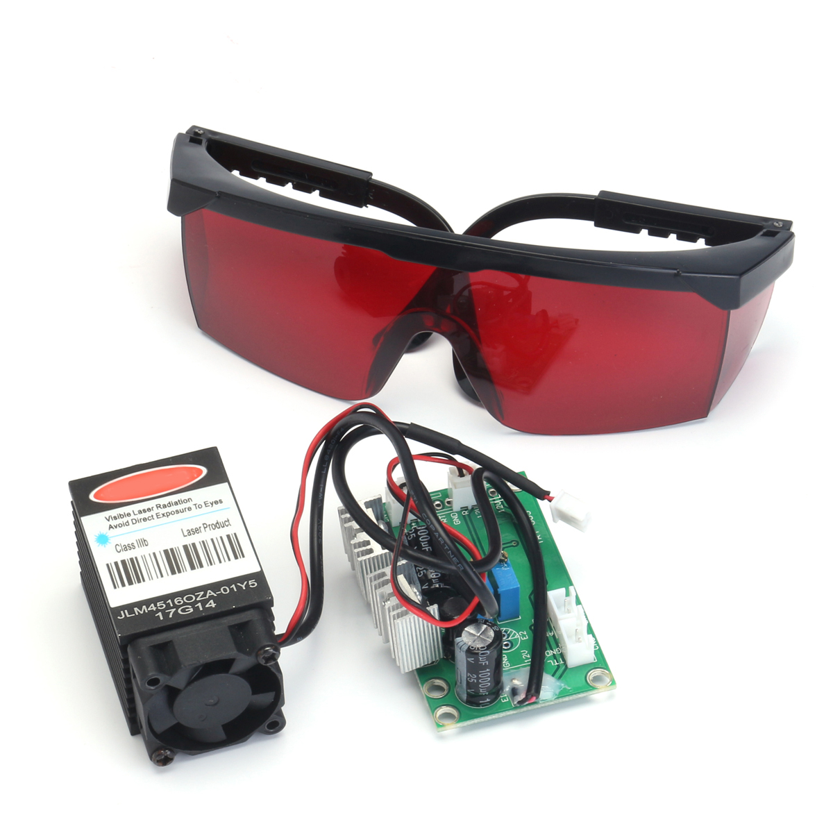 Powerful 2W 445nm 450nm Red Laser Diode Module 2000mw Engraver 405nm Goggles
