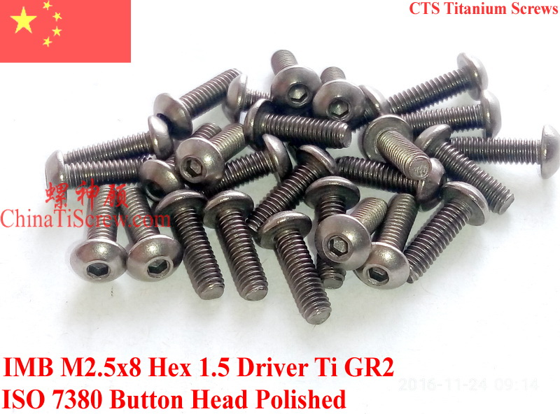 Titanium screw M2.5x8 ISO 7380 Button Head Hex 1.5 Driver Ti GR2 Polished 50 pcs 7380 fan7380 sop 8