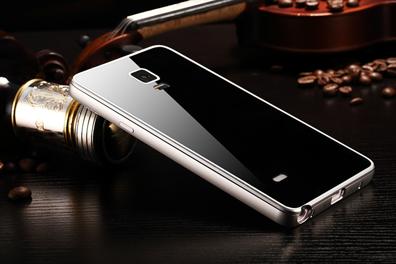 bilder für Gehärtetes Glas Back Cover + Metall Aluminium Rahmen Fall Coque Für Samsung Galaxy Note N9100 4 Original Telefon Fall