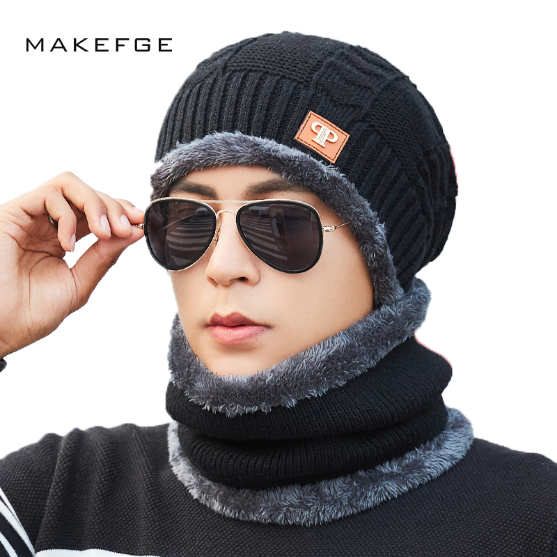 Autumn and winter knitted men's cotton hats warm and comfortable plus velvet thick ski caps scarf scarves solid   Skullies     Beanies