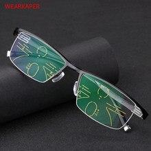 546d35228 Liga de Titânio Homens Óculos Para Presbiopia Óculos de Leitura Multifocal  SProgressive GUARDA-ROUPA Pontos para o Leitor Perto .