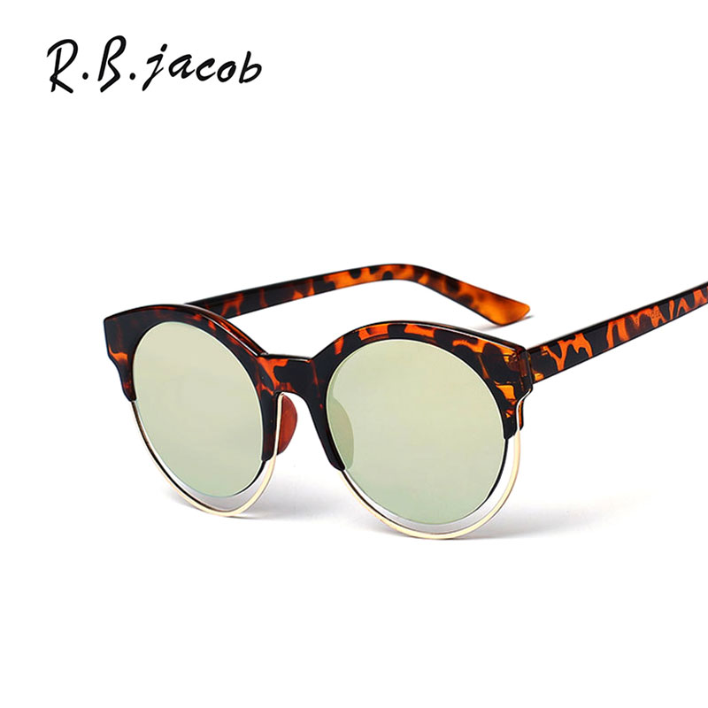 2017 New Luxury Women Men Brand Designer Cat Eye Sunglasses UV400 Lady Mirror Sun Glasses Female Shades Round Clear pink lens