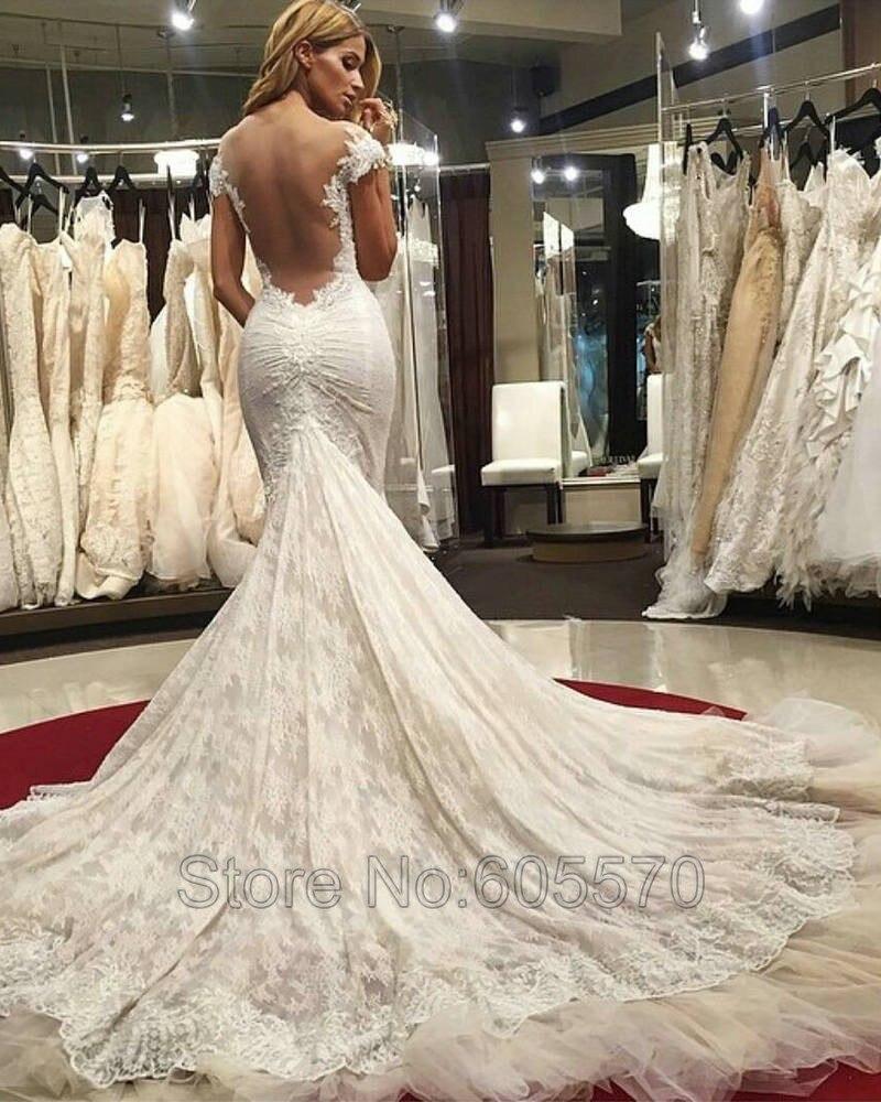 Back illusion mermaid wedding dress images