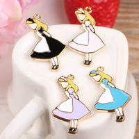 10PCS 19*33mm Cute Fairy Tale Alice Princess Enamel Charms Gold Tone Pendant Oil Drop DIY Bracelet Floating Charms