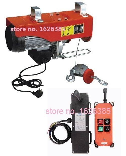 100 300KG 25M 220V 50Hz 1 phase Wireless remote mini electric wire rope hoist PA mini
