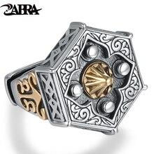 Fähigkeiten alte silberschmiede 100% 925 Silber alt neun tür mit männlichen persönlichkeit der Buddha ring mit William ringöffnung ring