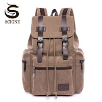 Scione Casual Men Canvas Backpack Male School Bag Mens Vintage Backpack For Women Female Travel Rucksack