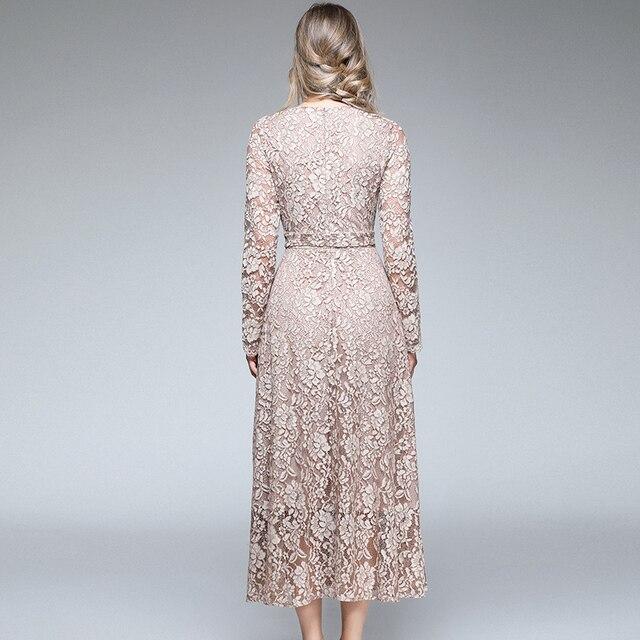 Autumn Women Long Sleeves Maxi Dress Vetement Femme 2021 Fall V-Neck Long Party Lace Dress Vestidos Longos K3509 5