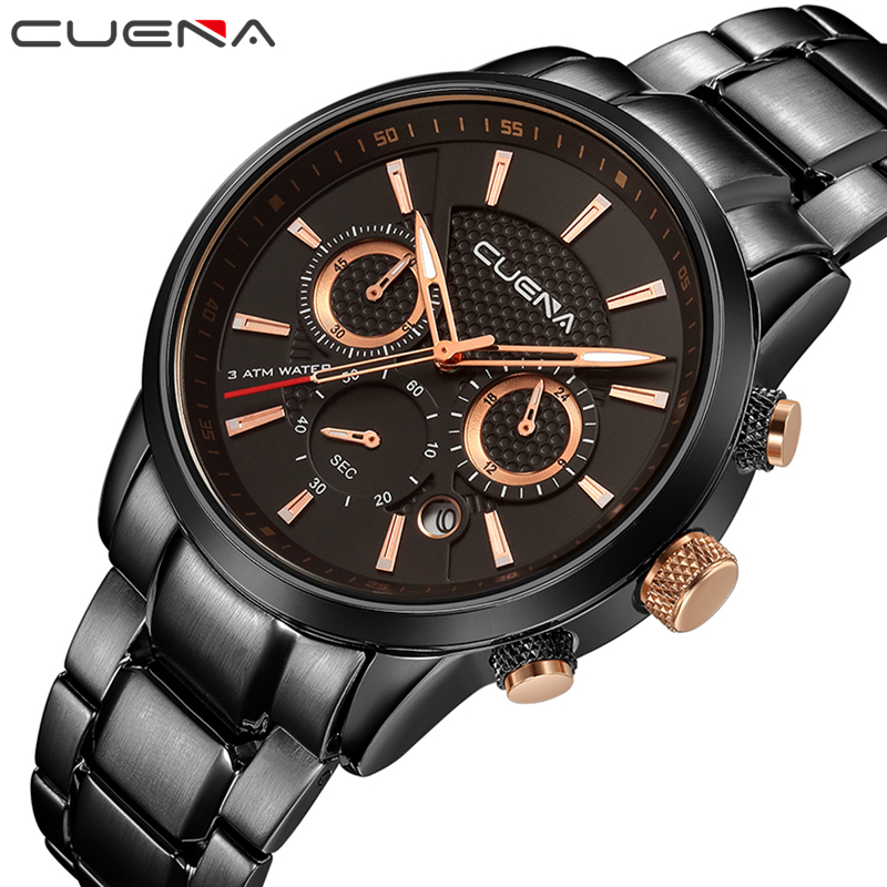 CUENA Men Quartz Watch Fashion Mens Watches Top Brand Luxury Waterproof Stainless Steel Wristwatches Man Clock Relogio Masculino fashion watch top brand oktime luxury watches men stainless steel strap quartz watch ultra thin dial clock man relogio masculino