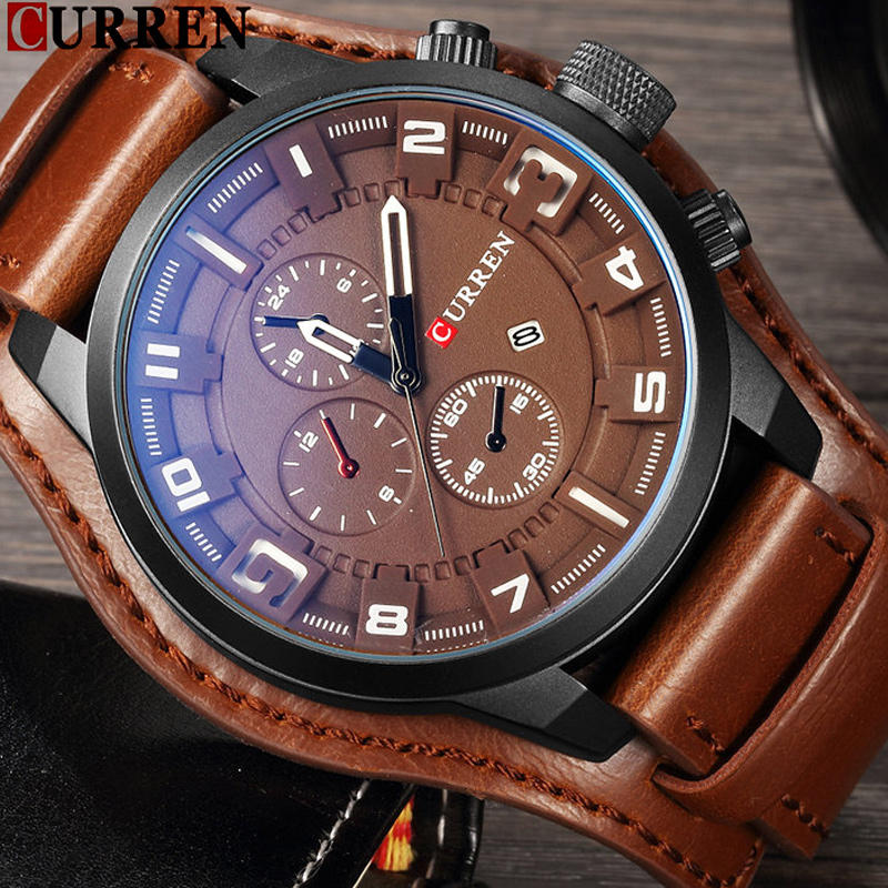 Male Casual Quartz Wristwatch Leather Military Waterproof Clocks Sport Clock 8225