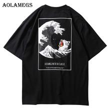 Aolamegs T Shirt Men Japanese Retro Men's Tee Shirts O-neck T Shirt Cotton Simple Fashion High Street Couple Tees Streetwear
