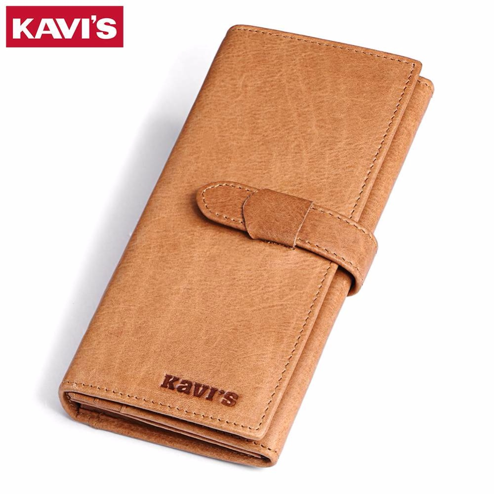 KAVIS Casual Genuine Leather Wallet Female Clutch Coin Purse Long Portomonee Walet Lady Clamp For Money Bag Girl Handy And Perse fashion girl change clasp purse money coin purse portable multifunction long female clutch travel wallet portefeuille femme cuir