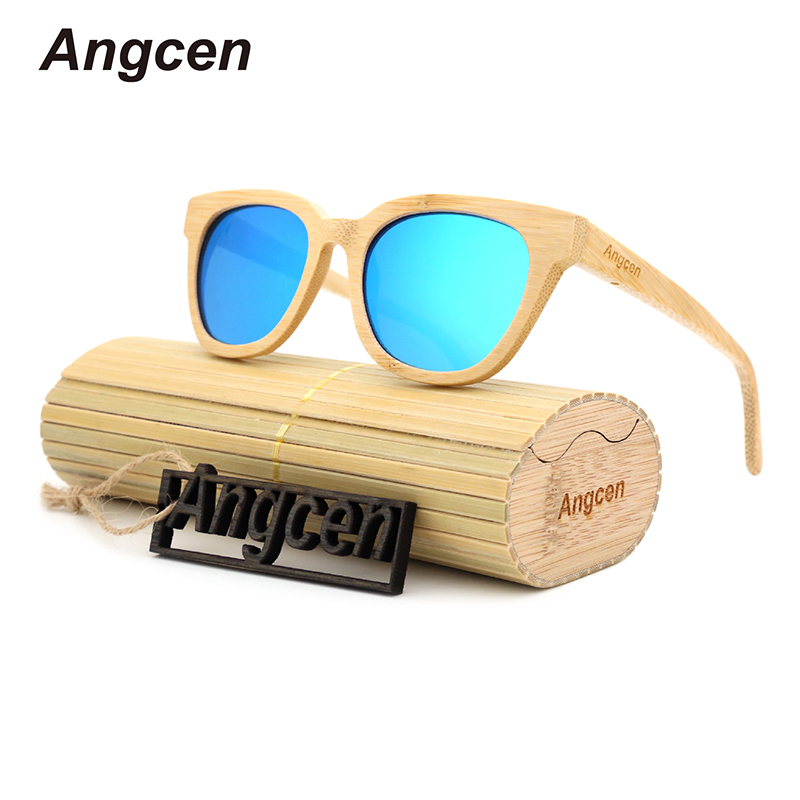 Angcen 2017 New fashion Products Men Women Glass Bamboo Sunglasses au Retro Vintage Wood Lens Wooden Frame Handmade ZA22