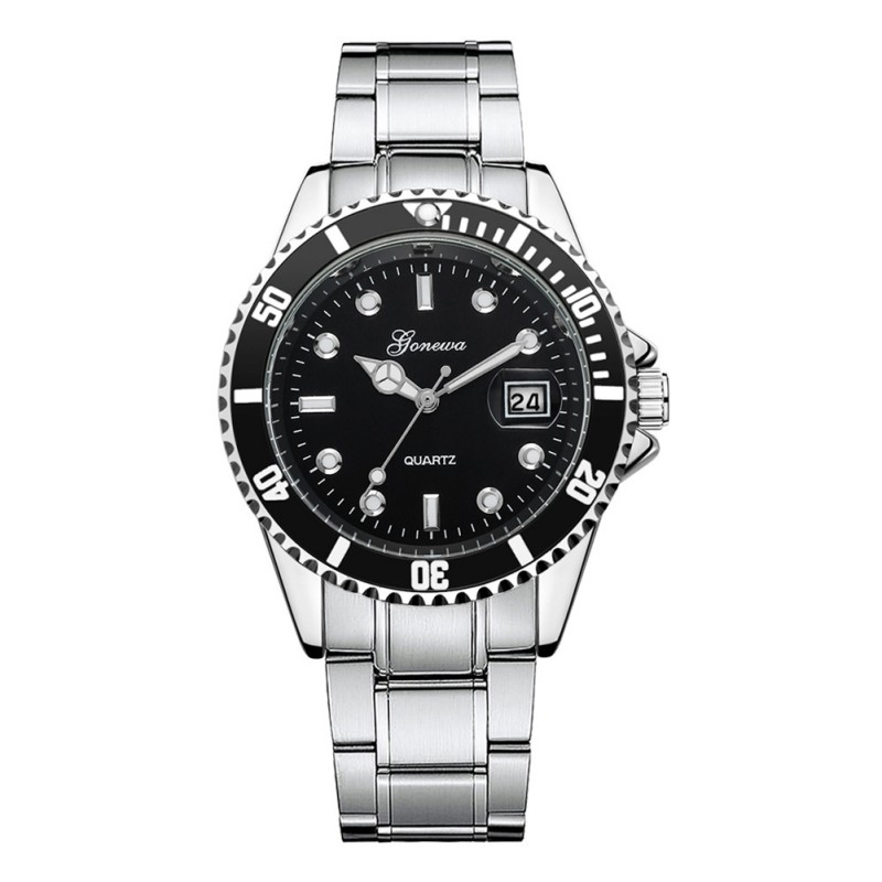 Simple Women Men Quartz Watch Stainless Steel Band Strap Business Wristwatch With Calendar