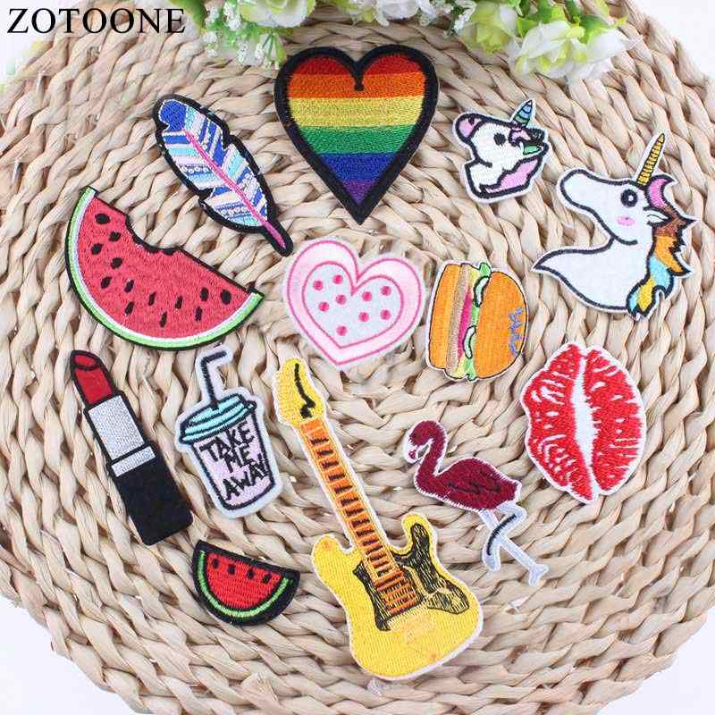 Rainbow Unicorn Patch Food DIY Small Cheap Embroidered Cute Patches Hippie Iron On Kids Cartoon Patches For Clothes Stickers B