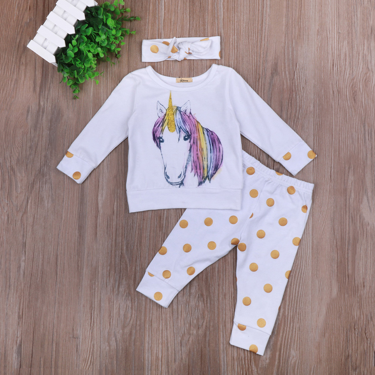 5c529c5399637 Babies 3 PCS Unicorn Clothing Set Newborn Baby Boy Girl Kid Unicorns Polka  Dots Outfit Clothes T shirt Top Pants Headband Sets-in Clothing Sets from  Mother ...