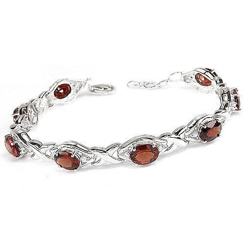 Grenat naturel 8ct Bracelet 925 en argent Sterling femme Fine élégante rouge gemme bijoux fille pierre de naissance Valentine cadeau ysb0012g
