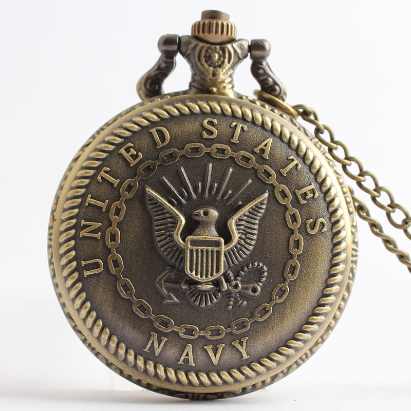Pocket & Fob Watches Bronze United States Navy Design Quartz Pocket Watch for Men/women Gift