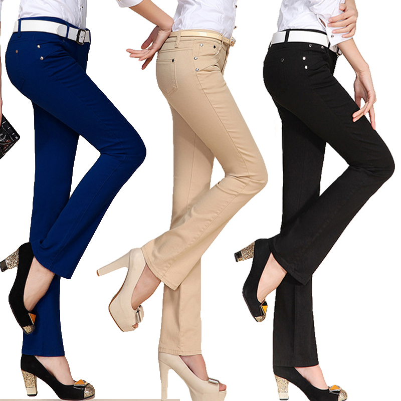 Nevettle Candy Color Skinny Flare Pants OL Women Ladies Office Middle Waist Pocket Denim Pants Trousers Pantalon Mujer