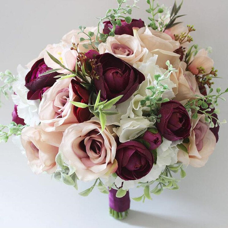 Home Decoration Artificial Rose Party Wedding Bouquets For Bridesmaid Bride 2018 Hand Made Multi Color Bridal Flowers