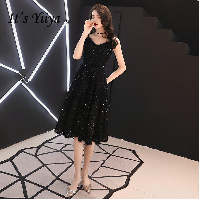 It's YiiYa   Cocktail   Dresse Sexy V-neck Spaghetti Strap Formal   Dress   Sequined Tassel Knee Length Little Black Party Gowns E326