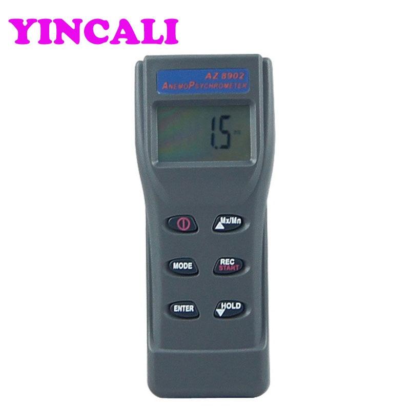 Anémomètre numérique portable ventilateur à distance débitmètre d'air AZ8902 vitesse du vent température humidité testeur de pression barométrique