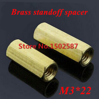 100 Pieces <font><b>M3</b></font>*22 Brass Hex Standoff Spacer Double-pass Column <font><b>M3</b></font> Female x <font><b>M3</b></font> Female <font><b>22mm</b></font> image