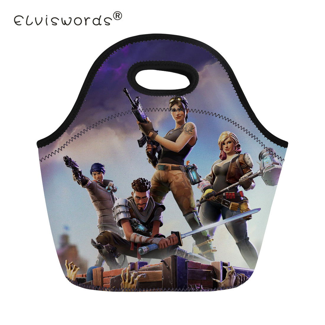 ELVISWORDS Men Women Lunch Bag For Kids Fortnite Battle Royale Print Portable Boys Thermal Insulated Picnic Food Box Lancheira