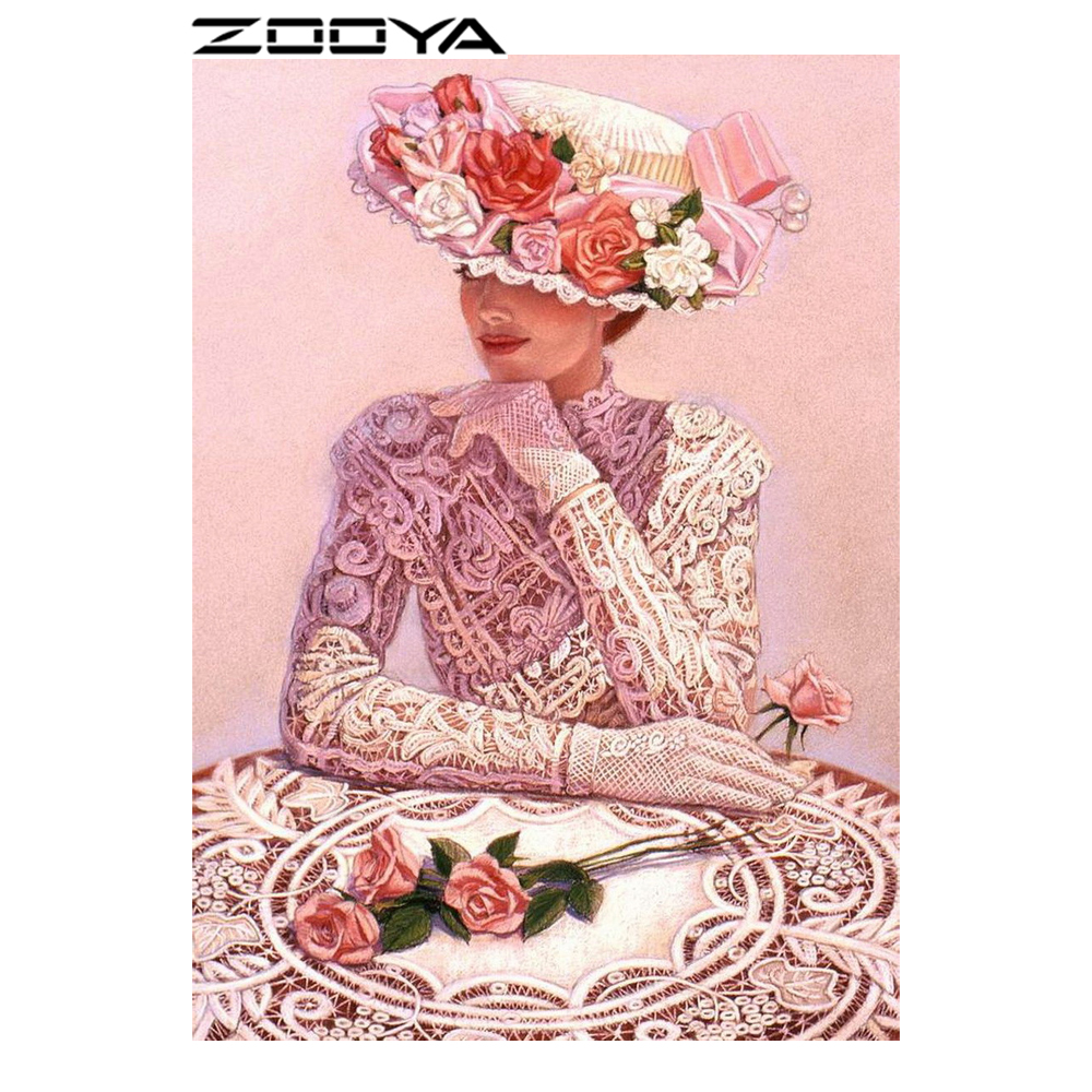 ZOOYA Diamond Painting Lady ilu tüdruk Diamond tikandid muster Rhinestones Full Drill Kit Decor Set näputöö Mosaic RF814