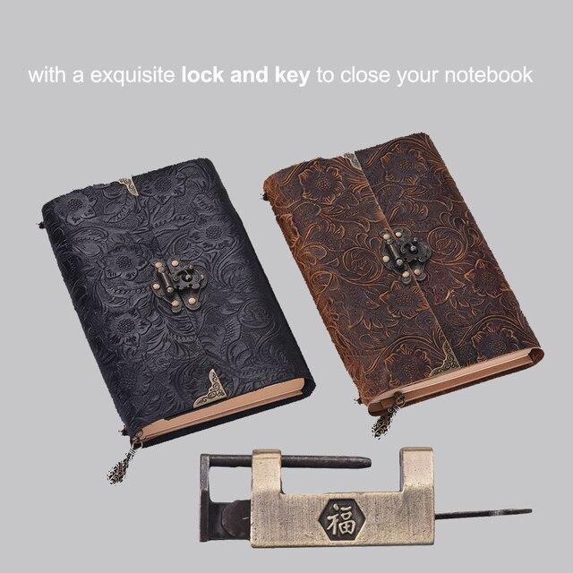 Aibecy اليدوية تنقش نمط لينة دفتر يوميات من الجلد مع قفل ومفتاح مذكرات المفكرة كرافت ورقة للأعمال المسافر