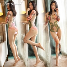 Plus Size Open Crotch Japanese Style Long Sleeves Print Transparent Lingerie