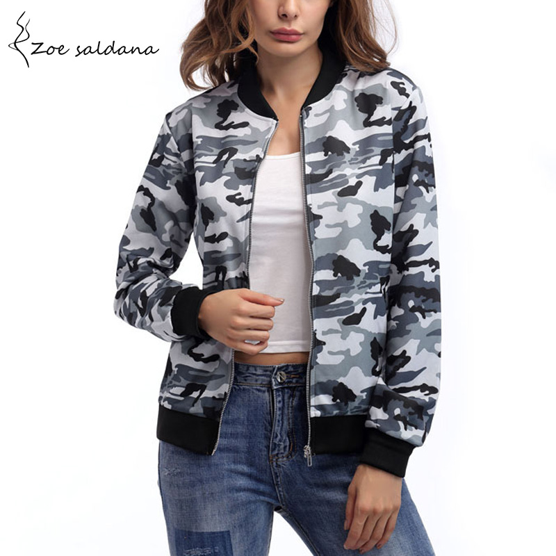 Zoe Saldana 2019 Camouflage Army Women Zipper Bomber   Jacket   Long Sleeve Casual Slim   Basic     Jacket