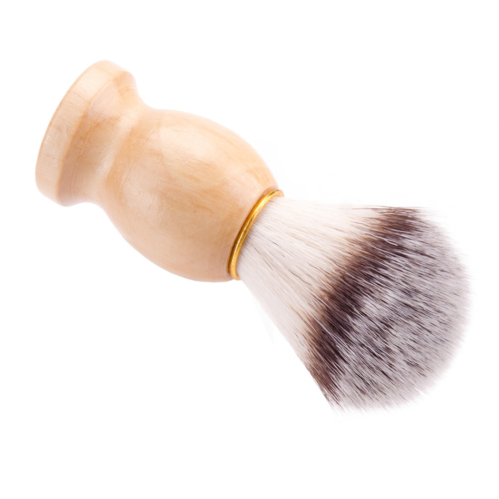ZY 2in1 Synthetic Nylon Soft Shaving Brush For Man Wood Handle+ Stainless Steel Stand Holder Barber Straight Razor Tool 2
