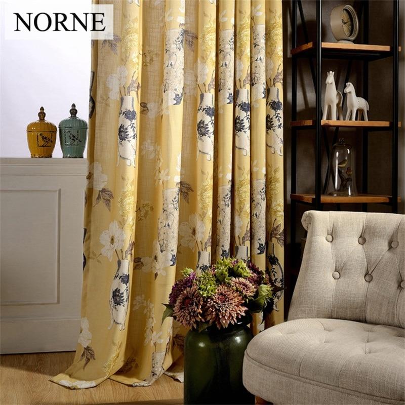 NORNE 거실 용 모던 커튼 침실 주방 커튼 개인 정보 보호 된 꽃 창 치료 커튼 패널 드레이프