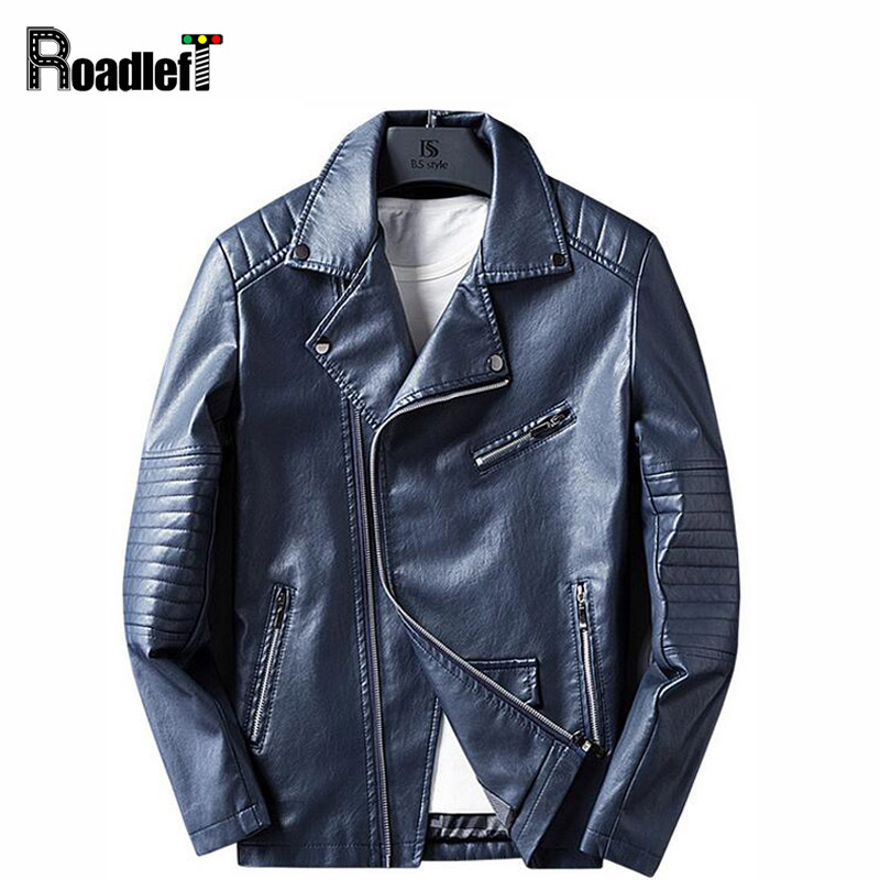 RoadLeft Brand Men's Clothing Fashion PU Leather Jacket Mens Hip Hop Motorcycle Jacket College Baseball Jackets Coat