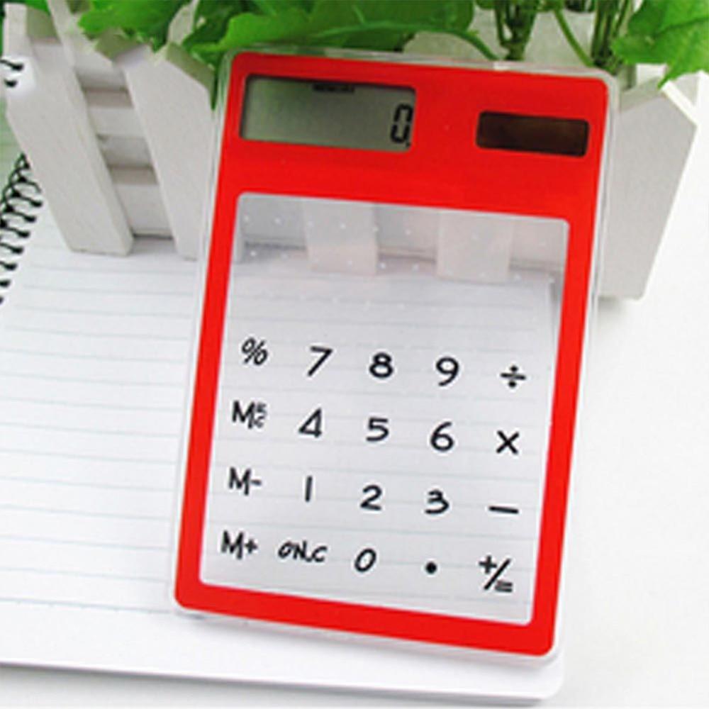 Pocket Calculator Scientific Transparent Solar Cute School-Meeting Ultra-Thin Handheld