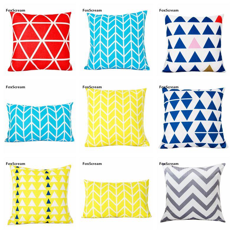 Home Textile Blue Decorative Cushions Cover Geometric Pillow Cover Home Decor Velvet Yellow Throw Pillows For Sofa 45x45cm