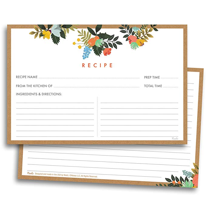 50sheet Floral Recipe Cards Double Sided Cards 4x5.6 Inches Cardstock Paper Stationery