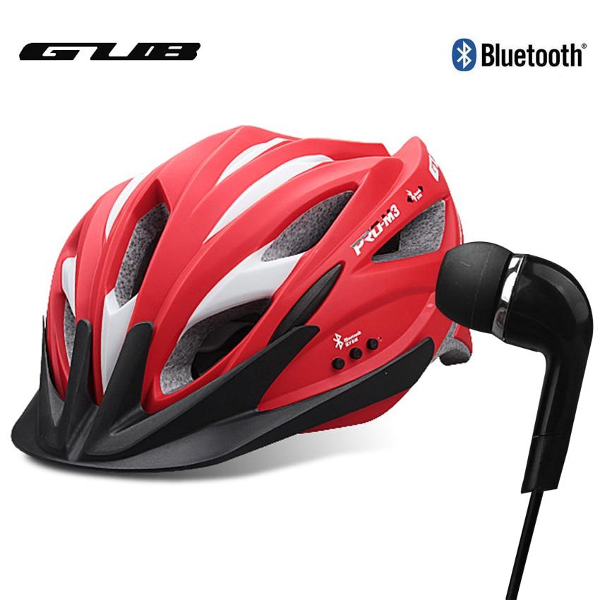 2017 GUB Cycling Helmet With Bluetooth Headset MTB Road Bike Integrally-molded Safty Bicycle Helmet With Visor 52-62cm Black Red west biking bike chain wheel 39 53t bicycle crank 170 175mm fit speed 9 mtb road bike cycling bicycle crank