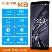 6,0 «FHD + OUKITEL K8 Android 8,0 мобильных телефонов 4 GB 64 GB 13.0MP + 5.0MP MTK6750T Восьмиядерный отпечаток пальца Face ID Dual SIM смартфонов
