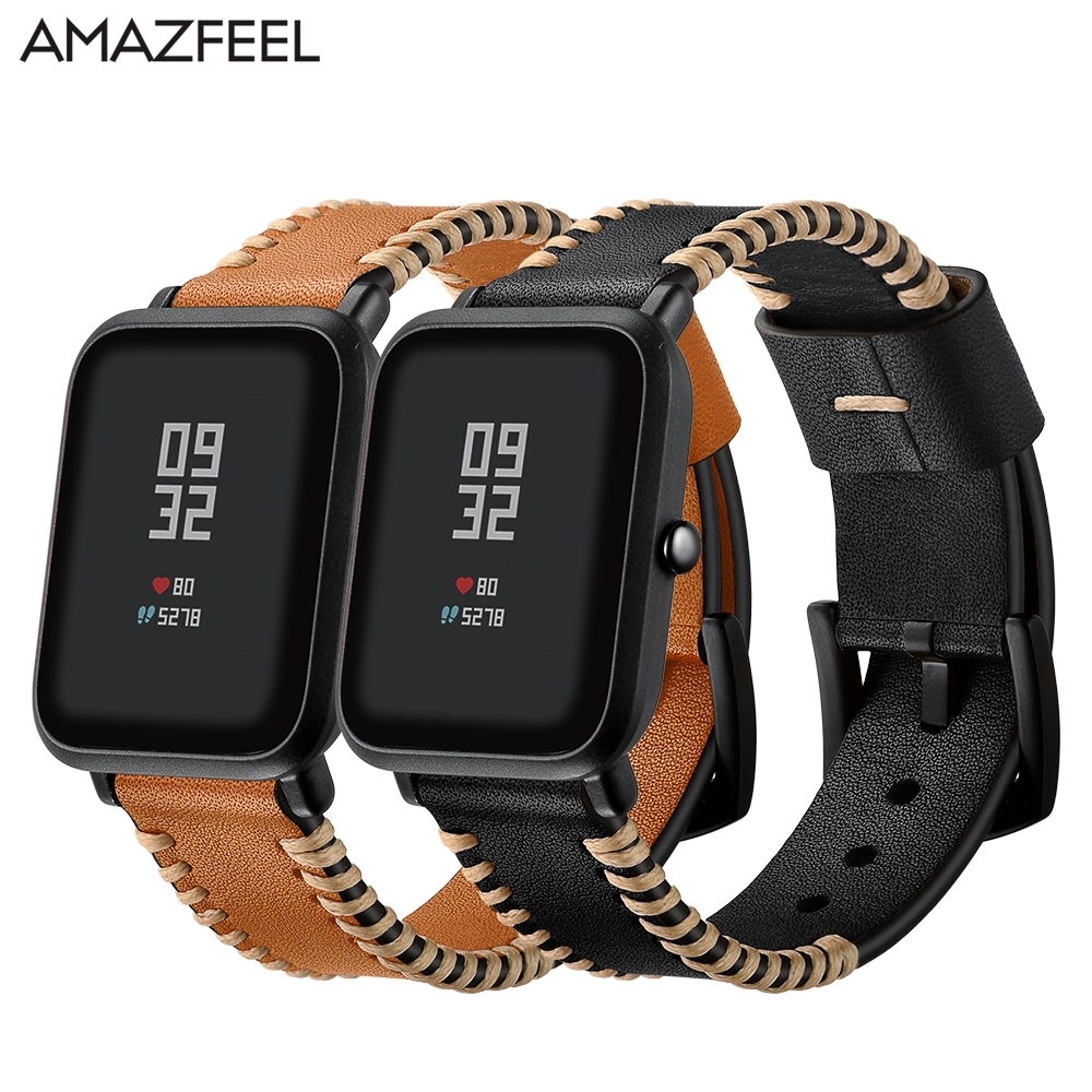 20mm Leather Strap for Xiaomi Huami Amazfit Bip BIT Smart Watch Bracelet for Xiaomi Amazfit Band Strap Genuine Leather Belt