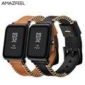 20 мм кожаный ремешок для Xiaomi Huami Amazfit Bip BIT Смарт-часы браслет для Xiaomi Amazfit ремешок из натуральной кожи ремень