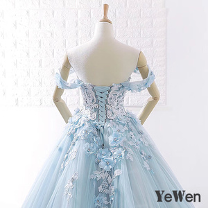 Image 5 - Lüks prenses çiçekler dantel gelin gelinlik 2020 boncuklu balo açık mavi renk gelinlik zarif robe de mariee