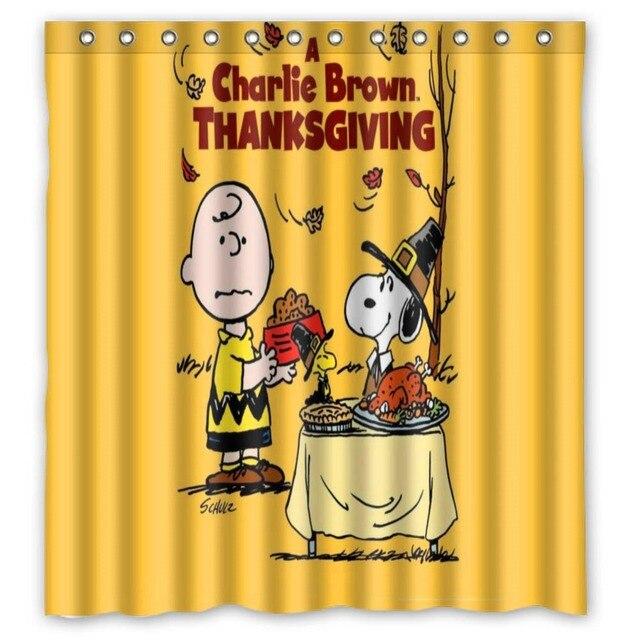 Vixm Charlie Brown Shower Curtains Peanuts Thanksgiving Bathroom 66x72 Inch