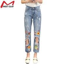 Мода Рваные джинсы для женщин 2017 вышитые солнце цветы джинсы отверстие джинсовые прямые брюки старинные брюки feminina YL606