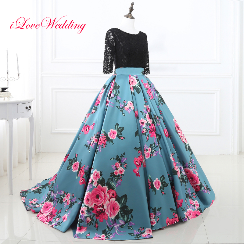 Floral Print Evening Dresses Scoop Neckline Three Quarter Sleeve Backless Ball Gown Black Lace Vestido de